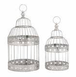 """Festive Metal Silver Bird Cages Set of 2 S/2 18"""", 15""""H by Woodland Import"""