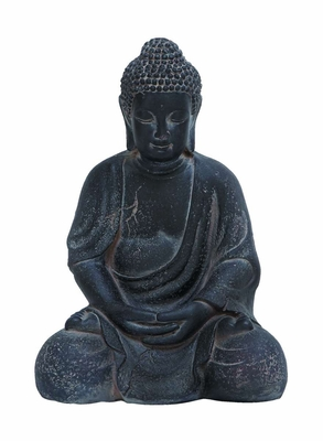 Fiber Clay Buddha in Antique Black Finish with Fine Detailing Brand Woodland