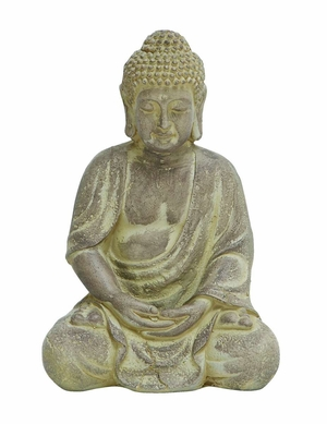 Fiber Clay Buddha in Sitting Pose with Antique Yellow Finish Brand Woodland