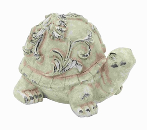 Fiber Glass Garden Turtle in Cream Colour with Vintage Finish Brand Woodland