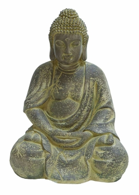 Fiber Stone Buddha in Antique Yellow with Intricate Styling Brand Woodland