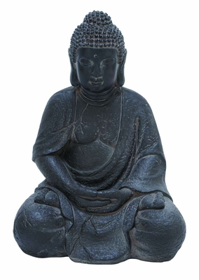 Fiber Stone Buddha in Elegant Black Color with Realistic Details Brand Woodland