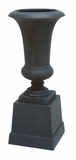 Fiber Stone Urn with Minimal Details in Black Color - Set of 2 Brand Woodland
