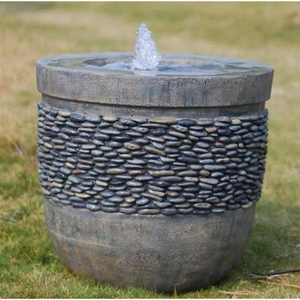 Fiberglass Garden Fountain With A Stone Finish In Gorgeous Planter Shape Brand Domani