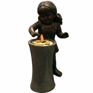 Fiberglass Playing Child Fountain With Bronze Finish Amusing Garden Decor Brand Domani