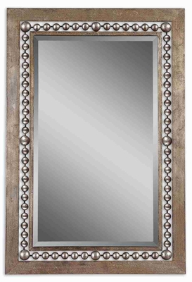 Fidda Antique Mirror with Beaded Open Transparent Frame Brand Uttermost