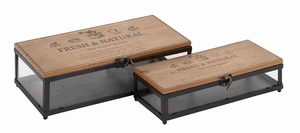 Fine Wooden Glass Boxes with an Antique Finish Brand Benzara