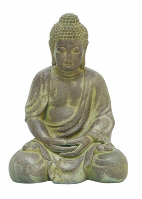 Finely Detailed Fiber Clay Buddha in Antique Yellow Finish Brand Woodland