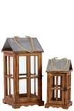 Finely Varnished Wooden Lantern Set of Two w/ Roof & Jute Rope Handle Attached