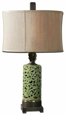 Fiora Ceramic Table Lamp with Bronze Detailing Brand Uttermost