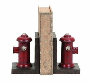 Fire Hydrant Themed Book Ends With Bold Aged Paint Brand Woodland