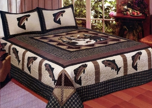 Fisherman's Wharf Queen Sized Cotton Filled Quilt by American Hometex