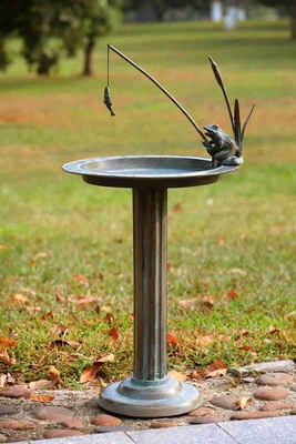 Fishing Frog Sundial / Birdbath Beautifully Sculptured Statue Brand SPI-HOME