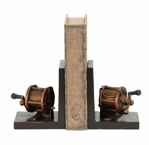 Fishing Reel Themed Book End Set In Polystone Cast Brand Woodland