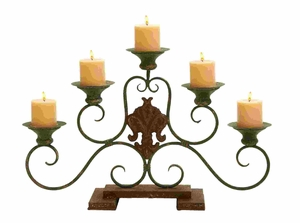 Five Candle Candelabra Centerpiece In Aged Bronze Alloy Brand Woodland