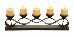 Five Candle Chic Dark Metal Candelabra Centerpiece Brand Woodland
