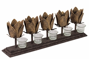 Five Candle Holder & Five Beautiful Metal Lotuses on a Rectangular Metal Plaque