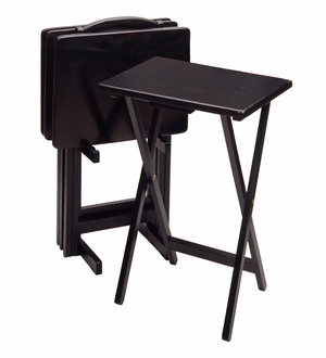 Winsome Wood Five Foldable Rectangular Black Contemporary TV Table Set