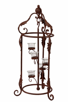 Five Metal Candle Holder w/ Magnificent Designed Stand in Rustic Brown
