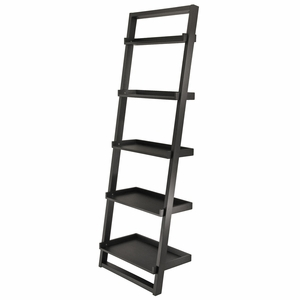 Winsome Wood Five Tier Fashionable Bailey Leaning Black Storage Shelf