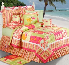 Flamingo Fun Bed Ruffle - Queen Size Bed Skirt Brand C&F