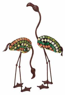 Flamingo Metal Garden Decor Statue Sculptures - Set of 2 Brand Woodland