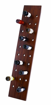 """Flat Wood Wall Wine Rack in Brown Glossy Finish 65"""" Height Brand Woodland"""