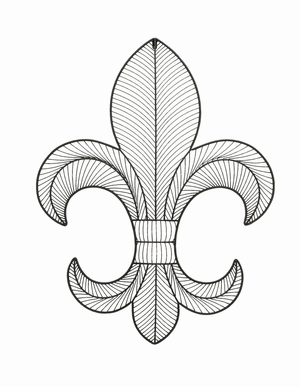 Fleur-de-Lis Themed Wall Plaque Decor In Iron Alloy Wire Brand Woodland