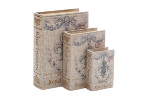 Fleur De Lis Wood Canvas Book Box Set/3, 12, 9, 6 Inch Brand Woodland