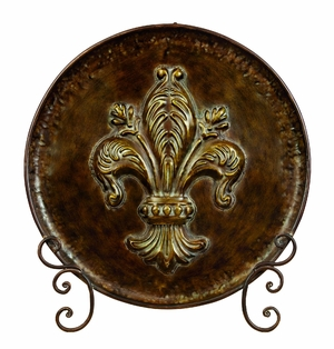 Fleur Di Li's Decorative Plate with Stand French Accent Brand Woodland
