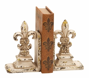 Fleur Di Lis Bookend Pair In Shabby Brown Color Tone Brand Woodland