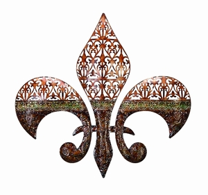 Fleur Di Lis Metal Wall Decor Sculpture with Intricate Detailing Brand Woodland