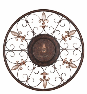 Fleur Di Lis Round Metal Classic Wall Art Decor Sculpture Brand Woodland