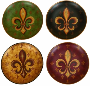 Fleur Di Lis Wall Decor Classic Ceramic Plates - Set of 4 Brand Woodland