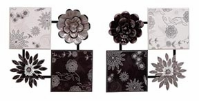 Fleur Metal Wall Art Sculpture in Black and White - Set of 2 Brand Woodland