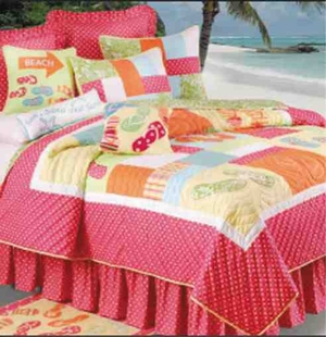 Flip Flop On The Beach Nautical Quilt Luxury King  Bedding Ensembles Brand C&F