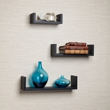 Floating 'U' Laminated Black Shelves(Set of 3) by Danya B
