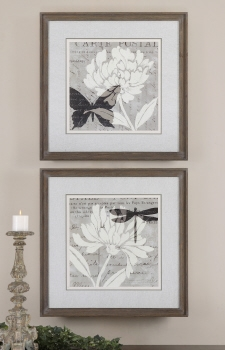 Flora And Fauna Artwork In Reclaimed Barn Wood  Frame Set Brand Uttermost