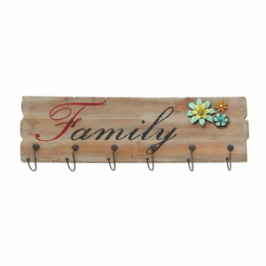 Floral Fancy Decorative Wood Wall Hook Brand Benzara