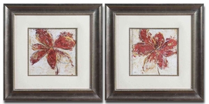 Floral Gesture Framed Art with Leaf Base - Set of 2 Brand Uttermost