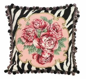 Floral Patterned Exclusive Zebra Rose Needlepoint Pillow by 123 Creations