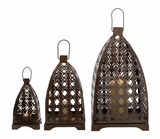 Floral Patterned Fantastic Metal Lantern by Woodland Import