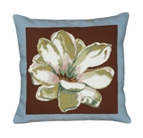 Floral Patterned Magnolia-Blue & Brown Needlepoint Pillow by 123 Creations
