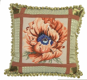 Floral Patterned Unique Styled Poppy Needlepoint Pillow by 123 Creations