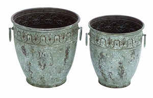 Floral Print Metal Planter with Delicate Handles - Set of 2 Brand Woodland