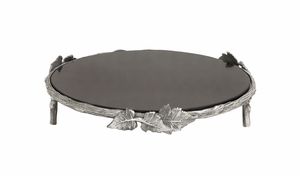 Floral Styled Aluminum Marble Cake Stand by Woodland Import