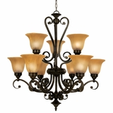 Florence Collection Classy Styled 9 Lights Chandelier in Venetian Bronze by Yosemite Home Decor