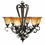 Florence Collection Stylized 6 Light Chandelier with shade in Venetian Bronze by Yosemite Home Decor