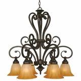 Florence Collection Unique Styled 6 Light Chandelier with shade in Venetian Bronze by Yosemite Home Decor