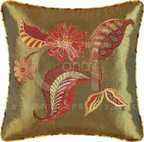 Florentine Silk Embroidered Pillow 16 x16 Inches Brand C&F